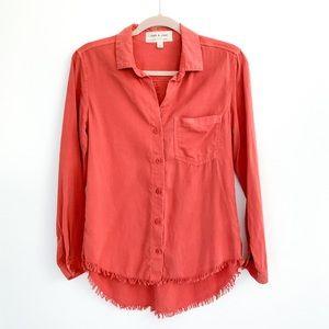 Cloth & Stone Orange Chambray Button Down Top XS